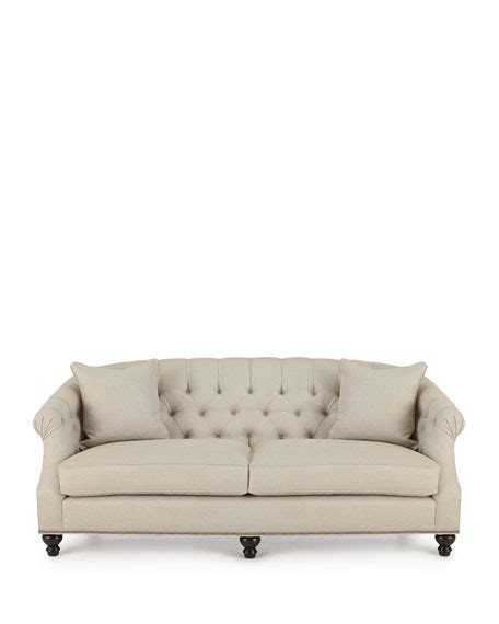 Naturelle Linen Tufted Sofa Tufted Linen Sofa