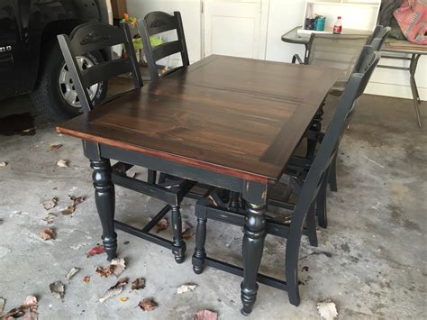 chalk paint table top refinished oak table base and chairs chalk painted black