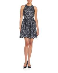 design lab navy dress lord taylor halter lace fit and flare dress in blue lyst