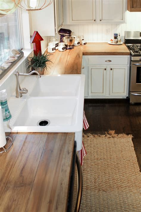 Diy Wood Kitchen Countertops Remodelaholic How To Create Faux Reclaimed Wood Countertops