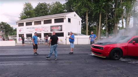 egos   dodge challenger srt demon erupt  flames   drag strip  drive