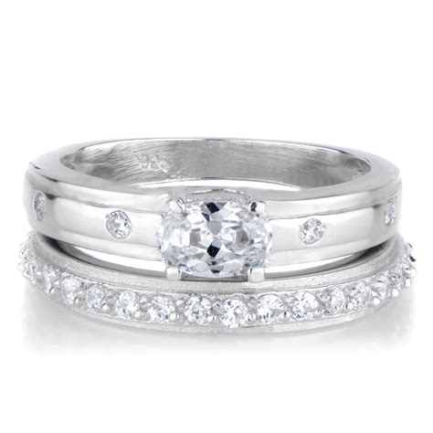 s unique oval cut cz wedding ring set