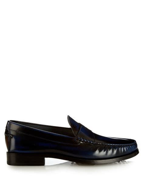 Toods New 01 Navy tod s spazzolato leather loafers in blue for lyst