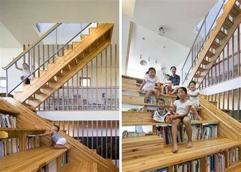 multifunctional wooden stairs define amazing modern house