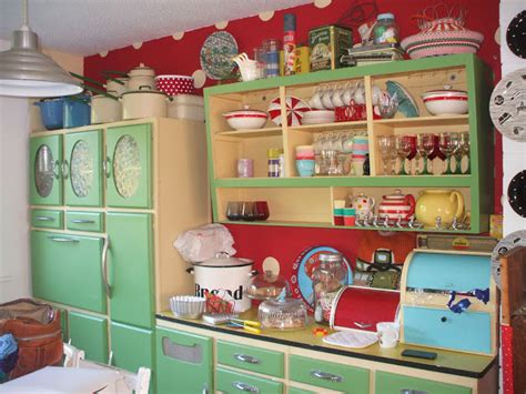 Yellow Bedroom Decorating Ideas by Retro 1950s Kitchen Cabinets In Mint Green And Red