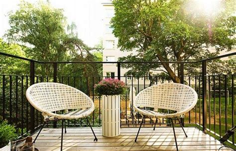 Outdoor Balcony Chairs Green Environment And Wooden Floor Apartment Design
