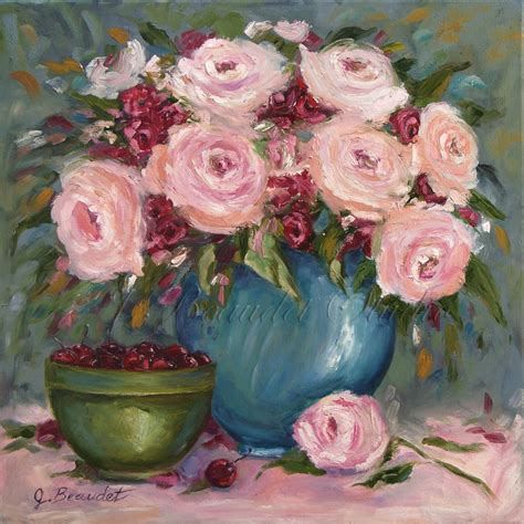 shabby chic paintings shabby chic floral painting roses and cherries sale