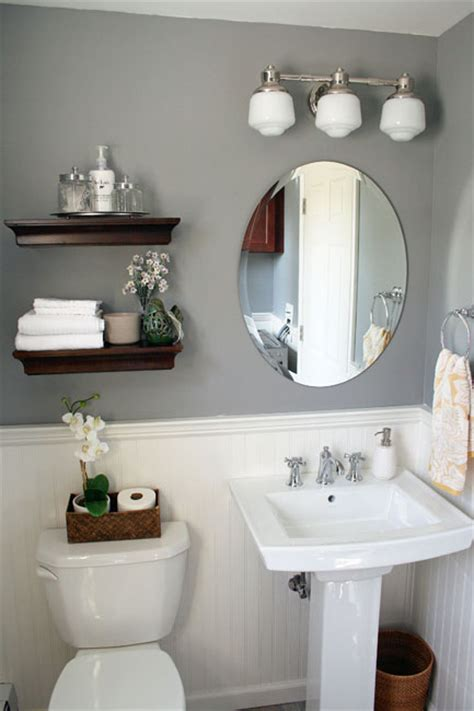 how to decorate a gray bathroom it s just paper at home powder room renovation