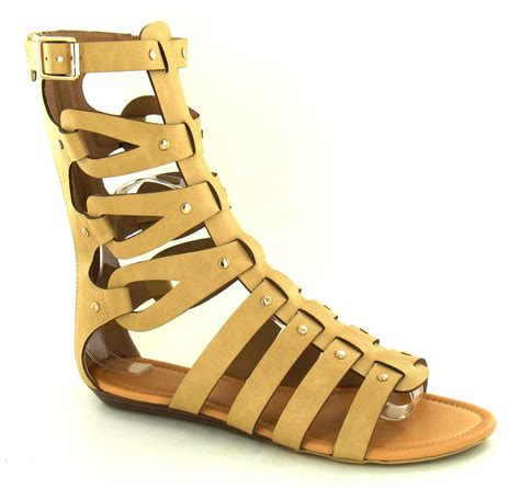 gladiator sandal womens mid calf cut out flat gladiator sandals