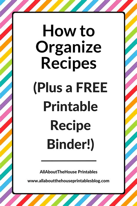how to organize recipes plus a free printable recipe