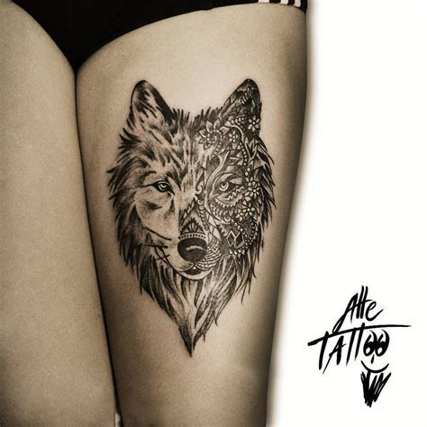 wolf thigh tattoo wolf thigh ink wolf and