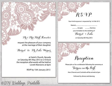 wedding reception cards templates lace wedding invitation suite templates dusky pink