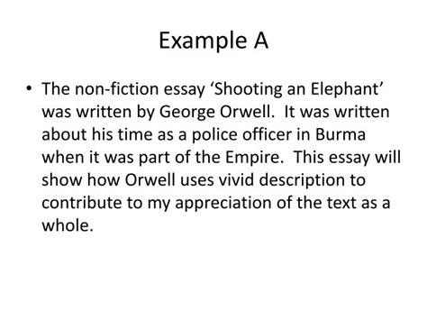 Shooting An Elephant Essay Analysis by Essay Shooting And Elephant