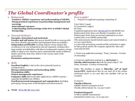Application Letter Pwc Pwc Aiesec Global Coordinator Information Package 12 13