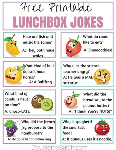 printable kid jokes funny simple ways to make lunch fun at school homemade lol