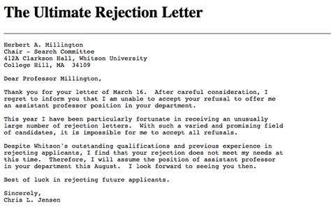 Rejection Letter Of The Year rejection letters