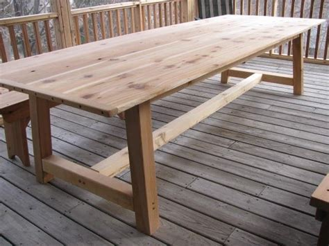 outdoor dining table with bench handmade large outdoor dining table cedar by jeffbuildsfurniture custommade com