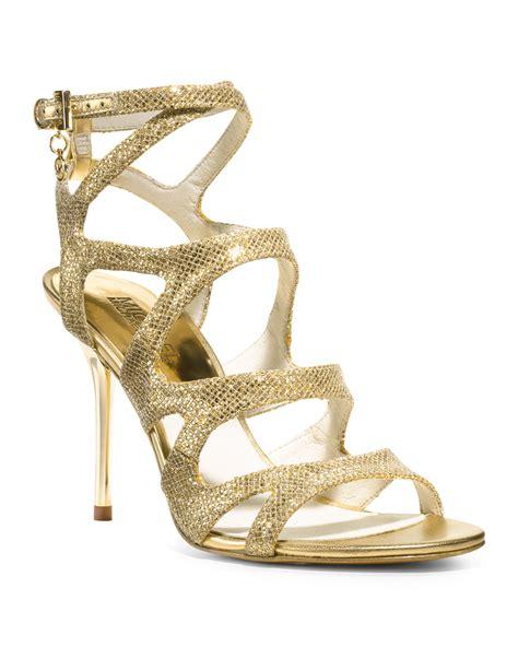 michael kors sandals gold michael kors michael yvonne glittered strappy sandal in