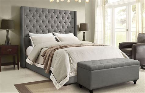 gray headboard bedroom alder tall headboard bed grey linen
