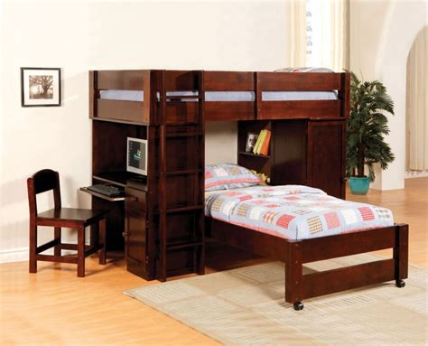 Bunk Bed With Desk And Couch Harford Walnut Junior Twin Bunk Bed With Computer Desk