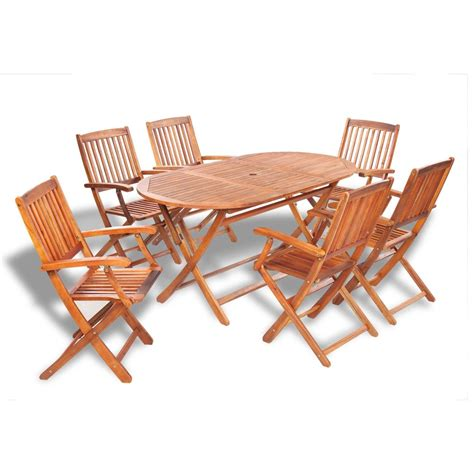 Dining Set 6 Chairs Vidaxl Wooden Outdoor Dining Set 6 Chairs 1 Oval Table Vidaxl