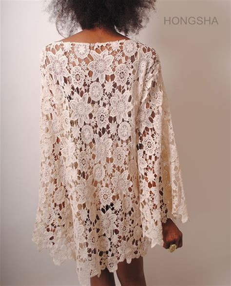 bohemian jurk wit womens boho kleding bohemian stijl bel mouw wit kant jurk