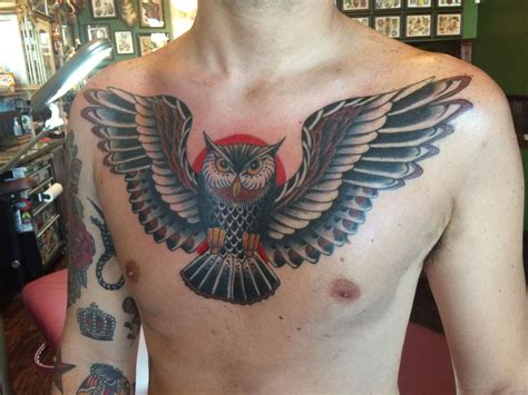 american traditional chest tattoo cooper thompson american traditional owl chest