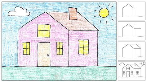 draw a house how to draw a house art projects for kids