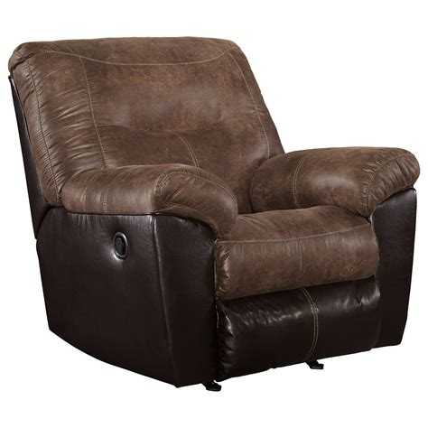 ashley furniture rocker recliner ashley signature design follett two tone faux leather