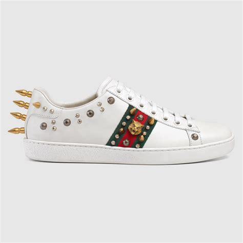 gucci shoes ace studded leather low top sneaker gucci s