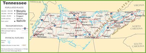 tennessee on map tennessee highway map