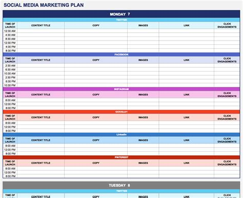 social media marketing plan template download excel file