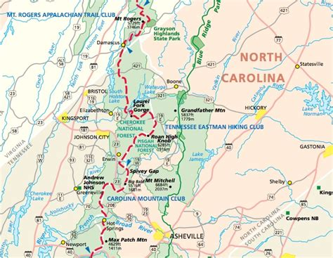 appalachian trail carolina map hiking in boone high country the high country