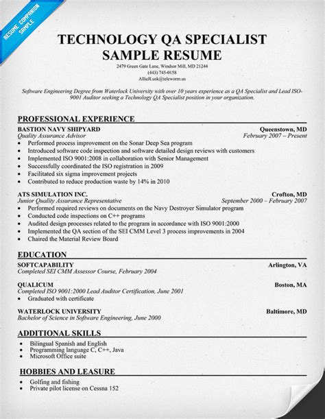 Resume Sample Quality Assurance Specialist by Resume Sample Quality Assurance Specialist Resume