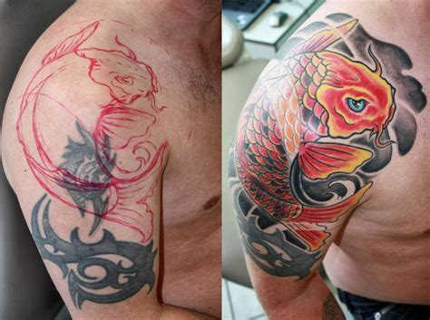 koi fish tattoo cover up cover up with koi fish by gettattoo on deviantart
