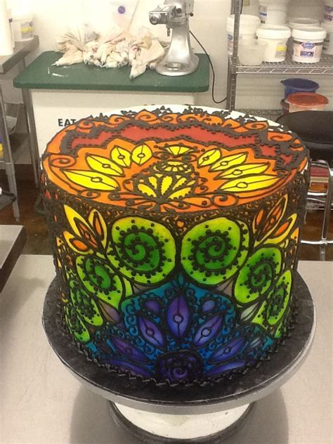 Stained Glass Mandala Cake: airbrush on buttercream