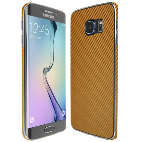 Samsung S6 Edge Gold skinomi techskin samsung galaxy s6 edge gold carbon