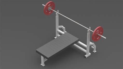 upright bench press chest press bench press barbell gym 3d model sldprt