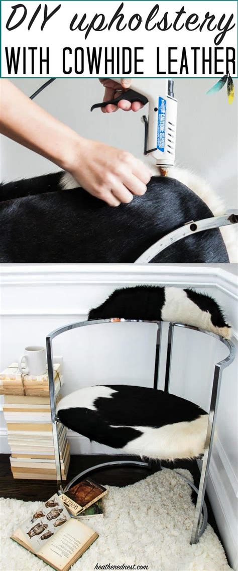 How To Turn Cowhide Into Leather - diy upholstery with cowhide leather the heathered nest