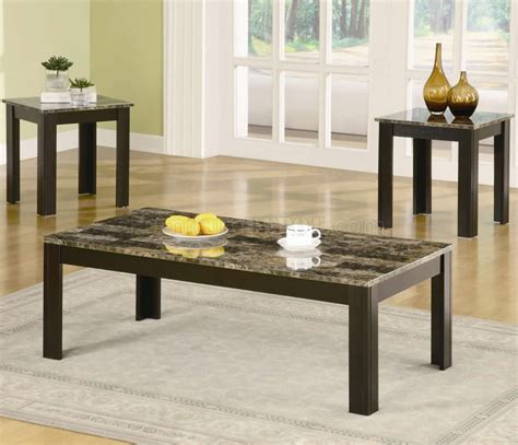marble like top black finish modern 3pc coffee table set