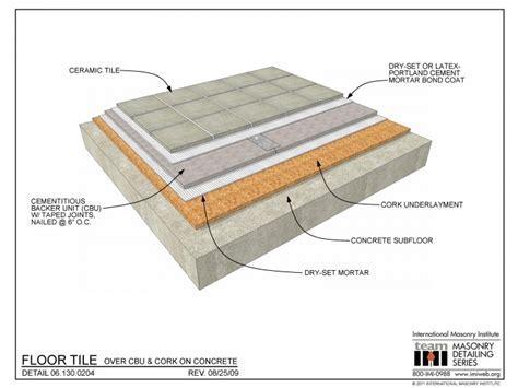 06.130.0204: Floor Tile   Over CBU & Cork on Concrete