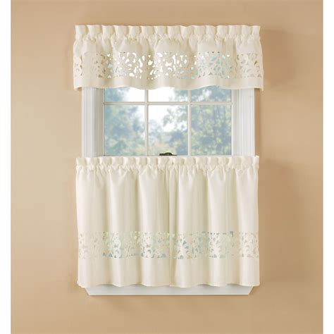 kmart curtains and drapes essential home ivory lazer cut tier set home home