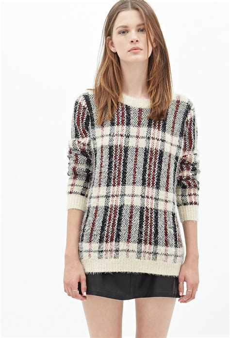 Plaid Sweater lyst forever 21 fuzzy plaid sweater in