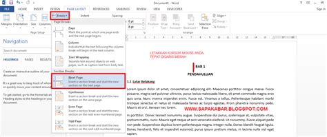 membuat nomor halaman yang berbeda dalam satu file cara membuat nomor halaman berbeda pada satu file