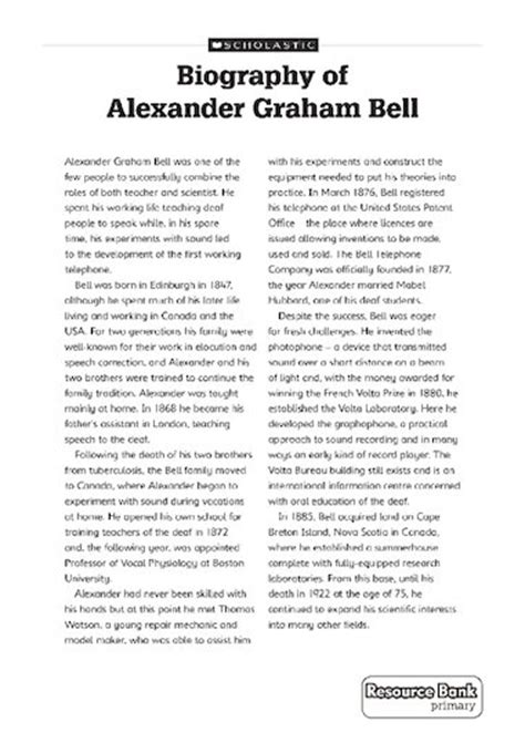 biography text of alexander graham bell biography of alexander graham bell primary ks2 teaching