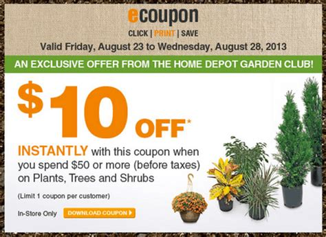 home depot trees coupon the home depot garden club coupons save 10 on plants