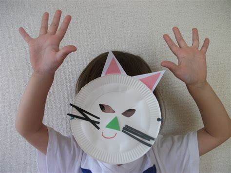 Cat Paper Craft - paper plate cat mask craft preschool education for