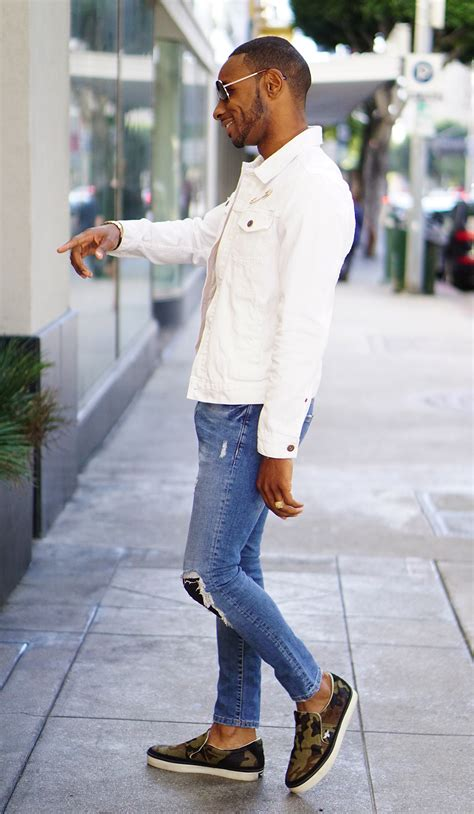 ootd white denim jacket norris danta ford