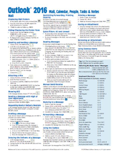 Office 365 Mail Keyboard Shortcuts Office 2016 Sheet Reference Guide Card Beezix