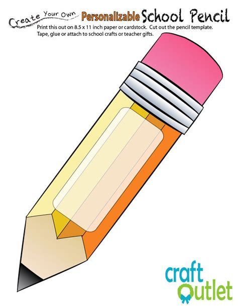 Pencil Template back to school apple with pencil printable craft outlet
